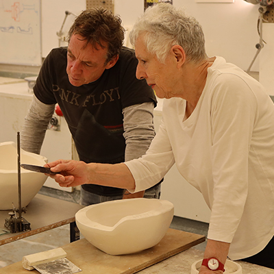Ceramics Technician Dave Finney with artist in residence Margaret O'Rourke
