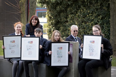 Helen Norman, from Higher Horizons and Professor David Hawkins with Our Big Read prizewinners.