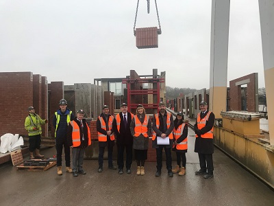 Colleagues from Staffordshire University, Mace and Thorp Precast at the Catalyst building site