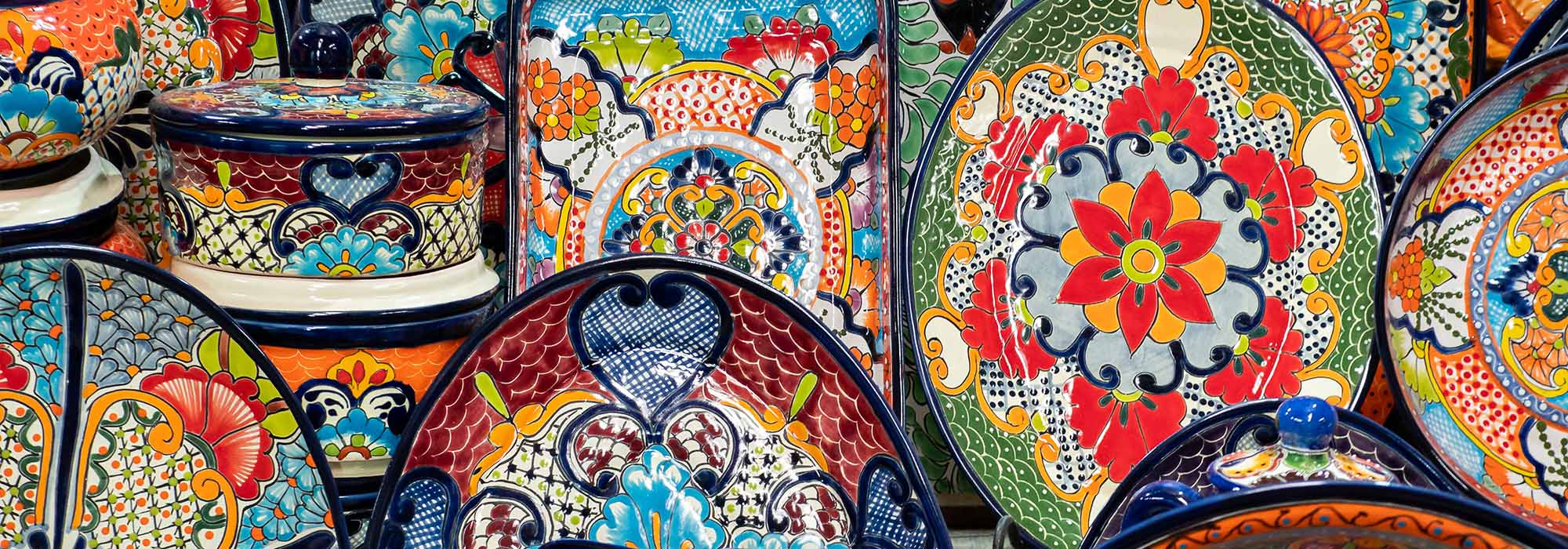 colourful plates on a stall